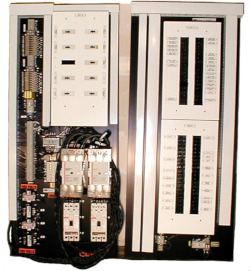 Complex panel with multiple power source and feed control, multiple circuit breakers, and various contactors